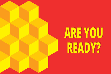 Text sign showing Are You Ready Question. Business photo showcasing used telling someone start something when feel prepared Icon colored isometric cubes half plain background. Abstract futuristic Stock Photo