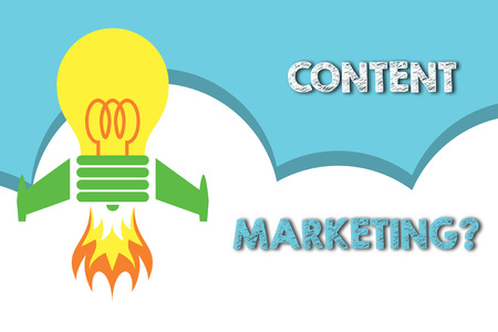Text sign showing Content Marketing question. Business photo showcasing involves creation and sharing of online material Top view launching bulb rocket fire base. Starting new project. Fuel idea Imagens - 124071585