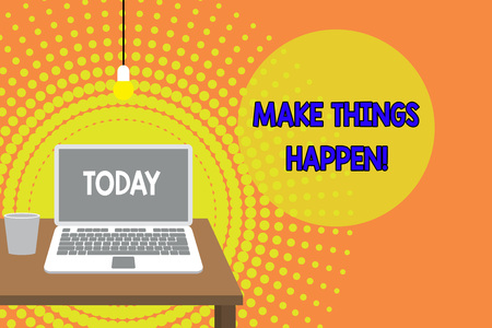Handwriting text writing Make Things Happen. Conceptual photo you will have to make hard efforts in order to achieve it Front view open laptop lying on wooden desktop light bulb falling glass Imagens