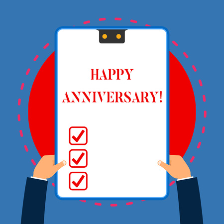 Handwriting text writing Happy Anniversary. Conceptual photo The annually recurring date of a past event celebration White rectangle clipboard with blue frame has two holes holds by hands