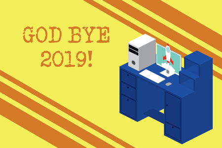 Handwriting text God Bye 2019. Conceptual photo express good wishes when parting or at the end of last year Working desktop station drawers personal computer launching rocket clouds