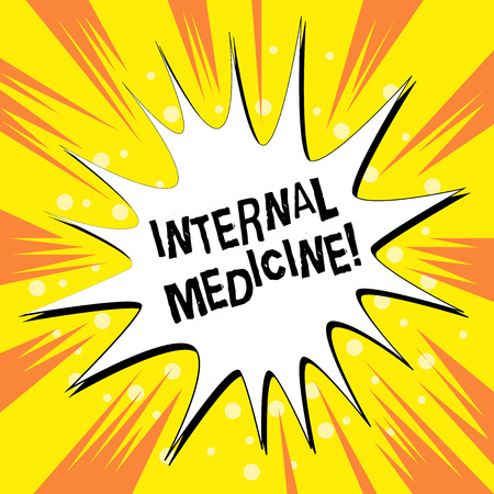 Handwriting text writing Internal Medicine. Conceptual photo dedicated to the diagnosis and medical treatment of adults Empty Spiky and Jagged Dialog Box Explosion Text Balloon Colored Background Stock Photo - 124051179