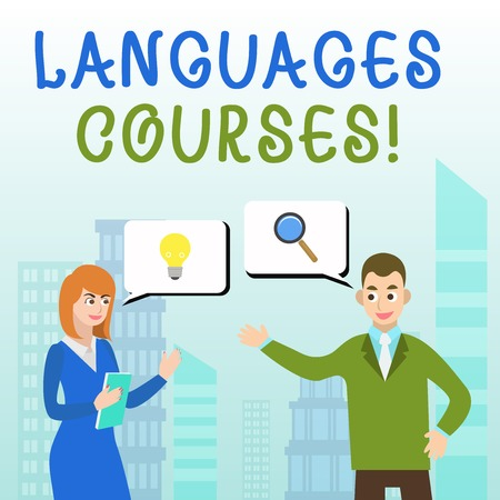 Handwriting text writing Languages Courses. Conceptual photo set of classes or a plan of study on a foreign language Business Partners Colleagues Jointly Seeking Problem Solution Generate Idea