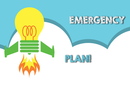 Text sign showing Emergency Plan. Business photo showcasing actions developed to mitigate damage of potential events Top view launching bulb rocket fire base. Starting new project. Fuel idea