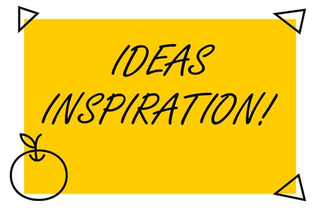 Handwriting text Ideas Inspiration. Conceptual photo feeling of enthusiasm you get from someone or something Isolated Yellow Text Box Banner with 4 SelfAdhesive One in Form of Apple