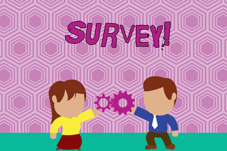 Writing note showing Survey. Business concept for research method used for collecting data from a predefined group Young couple sharing gear Man tie woman skirt relation Фото со стока