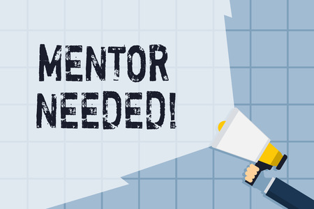 Conceptual hand writing showing Mentor Needed. Concept meaning Employee training under senior assigned act as advisor Hand Holding Megaphone with Wide Beam Extending the Volume