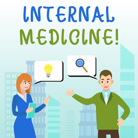 Handwriting text writing Internal Medicine. Conceptual photo dedicated to the diagnosis and medical treatment of adults Business Partners Colleagues Jointly Seeking Problem Solution Generate Idea Stock Photo - 124051531