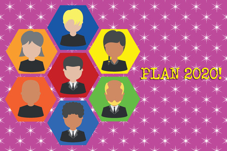 Writing note showing Plan 2020. Business concept for detailed proposal for doing or achieving something next year Picture frames CEO and staff Organization employee structure