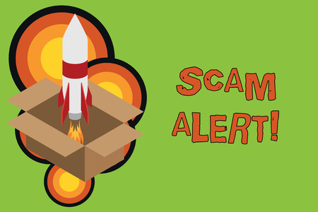 Conceptual hand writing showing Scam Alert. Concept meaning fraudulently obtain money from victim by persuading him Fire launching rocket Starting up project Fuel inspiration Stock Photo