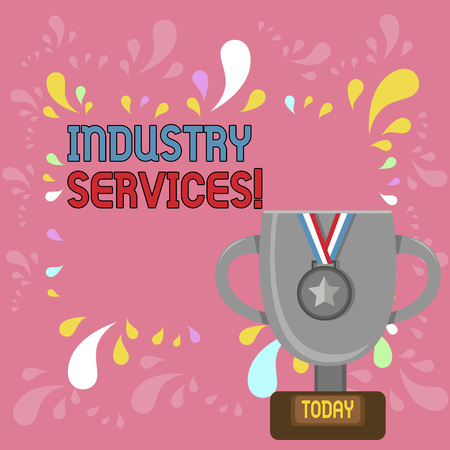 Word writing text Industry Services. Business photo showcasing type of business that provides services to customers Trophy Cup on Pedestal with Plaque Decorated by Medal with Striped Ribbon 免版税图像