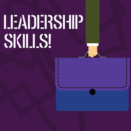 Text sign showing Leadership Skills. Business photo showcasing Skills and qualities that leaders possess Taking a lead Businessman Hand Carrying Colorful Briefcase Portfolio with Stitch Applique