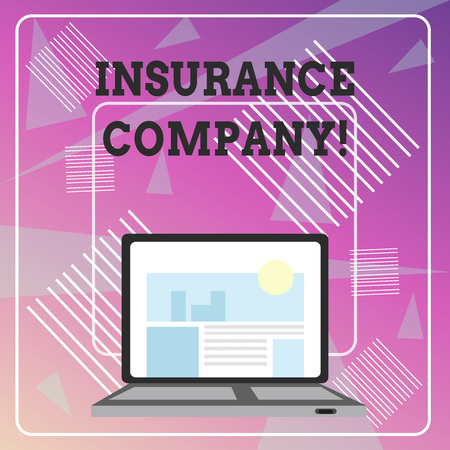 Word writing text Insurance Company. Business photo showcasing company that offers insurance policies to the public Open Modern Laptop Switched On with Website Homepage on Screen Web Search