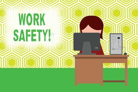 Text sign showing Work Safety. Business photo showcasing policies and procedures in place to ensure health of employees Young female working office sitting desktop computer office monitor photo