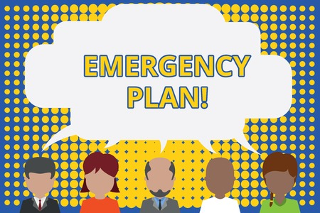 Writing note showing Emergency Plan. Business concept for actions developed to mitigate damage of potential events Five different persons sharing speech bubble People talking