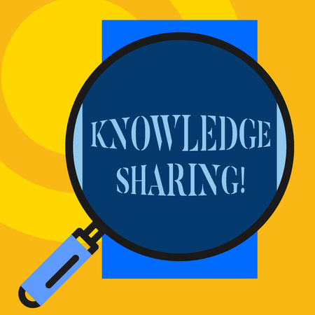 Text sign showing Knowledge Sharing. Business photo showcasing deliberate exchange of information that helps with agility Big magnifier glass looking vertical rectangle. Geometrical background