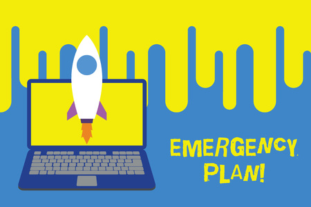 Word writing text Emergency Plan. Business photo showcasing actions developed to mitigate damage of potential events Launching rocket up laptop . Startup project. Developing goal objectives