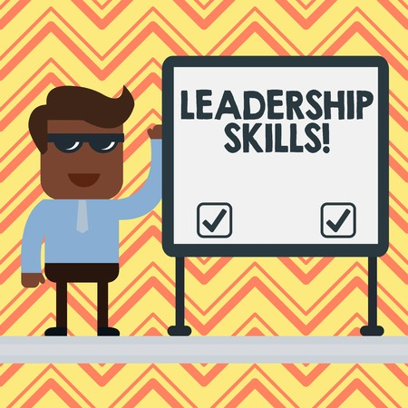 Word writing text Leadership Skills. Business photo showcasing Skills and qualities that leaders possess Taking a lead Businessman Office Worker Sunglasses Blank Whiteboard Meeting Presentation