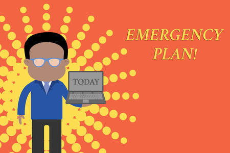Writing note showing Emergency Plan. Business concept for actions developed to mitigate damage of potential events Standing man in suit wearing eyeglasses holding open laptop photo Art