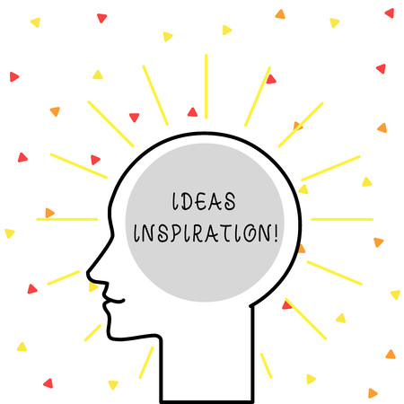 Conceptual hand writing showing Ideas Inspiration. Concept meaning feeling of enthusiasm you get from someone or something Outline Silhouette Human Head Surrounded by Light Rays Blank Stok Fotoğraf