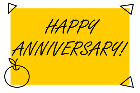 Handwriting text Happy Anniversary. Conceptual photo The annually recurring date of a past event celebration Isolated Yellow Text Box Banner with 4 SelfAdhesive One in Form of Apple