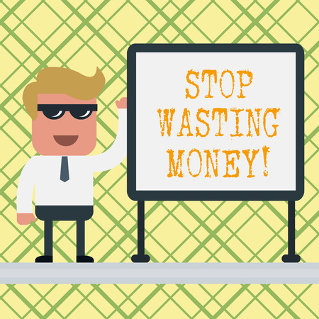 Conceptual hand writing showing Stop Wasting Money. Concept meaning advicing demonstrating or group to start saving and use it wisely Office Worker Sunglass Blank Whiteboard Meeting Presentation