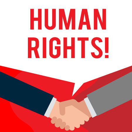 Handwriting text writing Huanalysis Rights. Conceptual photo the equality of fighting for your rights individuality Two persons have bubbly conversation while greet each other and shake hands