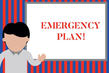 Writing note showing Emergency Plan. Business concept for actions developed to mitigate damage of potential events Young man standing in front whiteboard pointing to project. photo Art