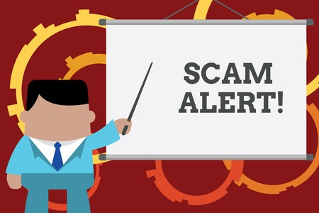 Conceptual hand writing showing Scam Alert. Concept meaning fraudulently obtain money from victim by persuading him Businessman in front projector screen pointing project idea