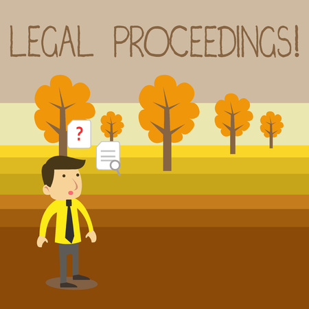 Text sign showing Legal Proceedings. Business photo showcasing procedure instituted in a court of law to acquire benefit Young Male Businessman Office Worker Standing Searching Problem Solution