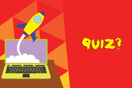 Writing note showing Quiz Question. Business concept for test of knowledge as competition between individuals or teams Successful rocket launching laptop background Startup grow
