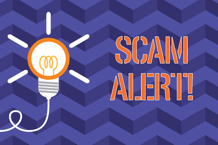 Text sign showing Scam Alert. Business photo text fraudulently obtain money from victim by persuading him Big idea light bulb. Successful turning idea invention innovation. Startup