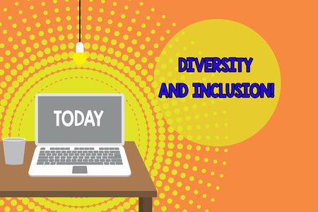 Handwriting text writing Diversity And Inclusion. Conceptual photo range huanalysis difference includes race ethnicity gender Front view open laptop lying on wooden desktop light bulb falling glass