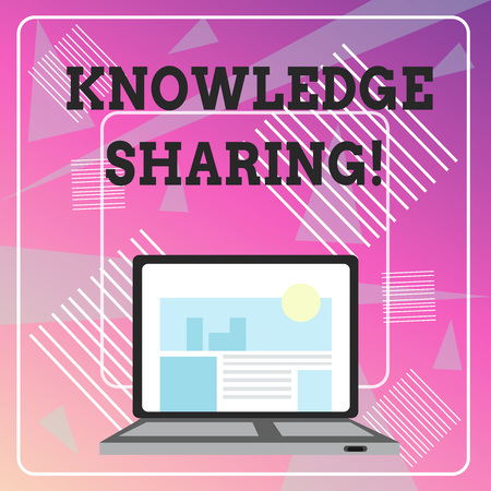 Word writing text Knowledge Sharing. Business photo showcasing deliberate exchange of information that helps with agility Open Modern Laptop Switched On with Website Homepage on Screen Web Search