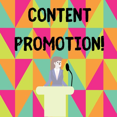 Word writing text Content Promotion. Business photo showcasing about getting content in front of the right audience Businesswoman Standing Behind Podium Rostrum Speaking on Wireless Microphone