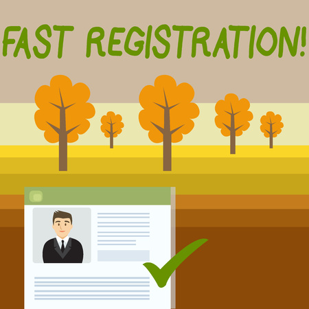 Conceptual hand writing showing Fast Registration. Concept meaning Quick method of entering certain information in a register Curriculum Vitae Resume of Candidate Marked by Color Mark