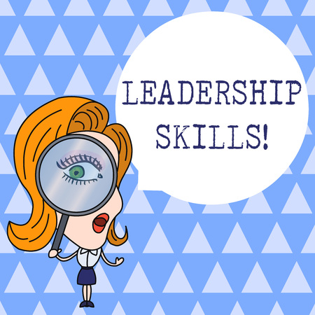 Text sign showing Leadership Skills. Business photo showcasing Skills and qualities that leaders possess Taking a lead Woman Looking Trough Magnifying Glass Big Eye Blank Round Speech Bubble