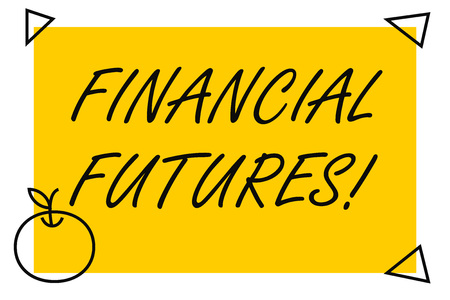 Handwriting text Financial Futures. Conceptual photo contract to buy or sell something such as foreign currency Isolated Yellow Text Box Banner with 4 SelfAdhesive One in Form of Apple