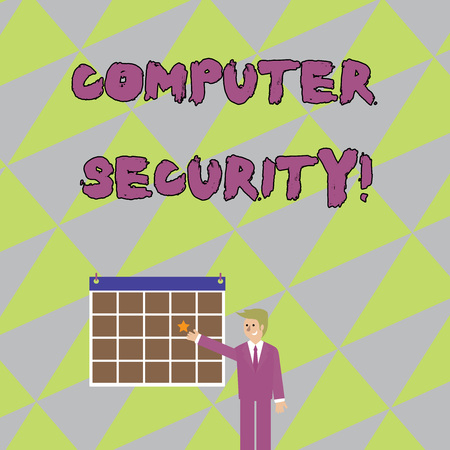 Handwriting text writing Computer Security. Conceptual photo protection of computer systems from theft or damage Businessman Smiling and Pointing to Colorful Calendar with Star Hang on Wall