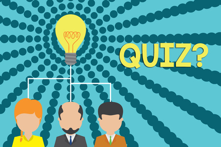 Handwriting text writing Quiz Question. Conceptual photo test of knowledge as competition between individuals or teams Group three executive persons sharing idea icon. Startup team meeting