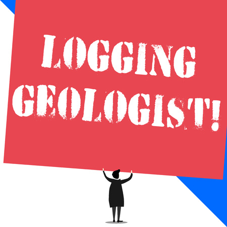 Conceptual hand writing showing Logging Geologist. Concept meaning Layout and execution of definition diamond drill programs Standing short hair woman dress hands up holding rectangle