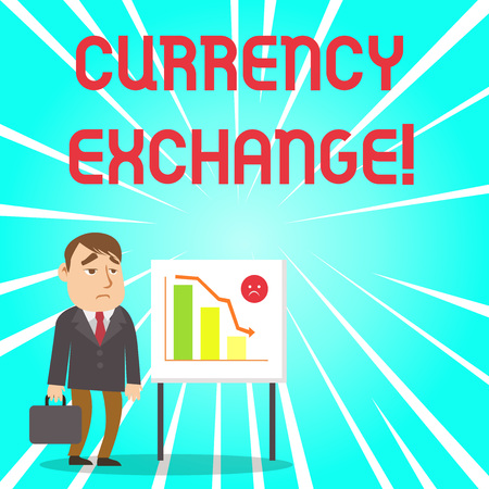Handwriting text Currency Exchange. Conceptual photo rate at which one currency will be exchanged for another Businessman Clerk with Brief Case Standing Whiteboard Declining Bar Chart