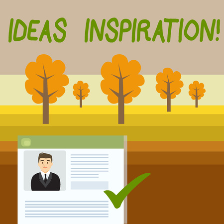 Conceptual hand writing showing Ideas Inspiration. Concept meaning feeling of enthusiasm you get from someone or something Curriculum Vitae Resume of Candidate Marked by Color Mark Stok Fotoğraf