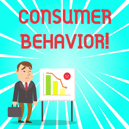 Handwriting text Consumer Behavior. Conceptual photo study of how individual customers interacts with the brand Businessman Clerk with Brief Case Standing Whiteboard Declining Bar Chart