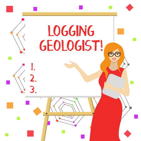 Word writing text Logging Geologist. Business photo showcasing Layout and execution of definition diamond drill programs White Female in Glasses Standing by Blank Whiteboard on Stand Presentation