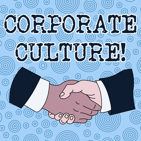 Conceptual hand writing showing Corporate Culture. Concept meaning beliefs and attitudes that characterize a company Hand Shake Multiracial Male Colleagues Formal Shirt Suit