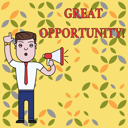Text sign showing Great Opportunity. Business photo text an appropriate or favorable time or occasion to venture Man Standing with Raised Right Index Finger and Speaking into Megaphone