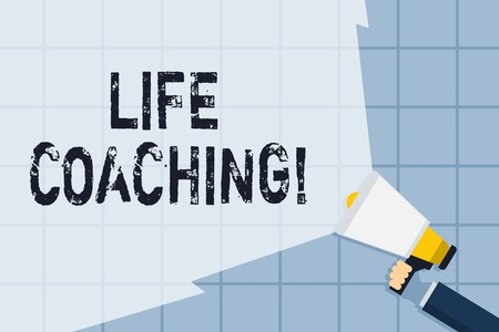 Conceptual hand writing showing Life Coaching. Concept meaning demonstrating employed to help showing attain their goals in career Hand Holding Megaphone with Wide Beam Extending the Volume