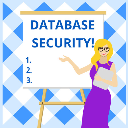 Conceptual hand writing showing Database Security. Concept meaning security controls to protect databases against compromises Female in Glasses Standing Whiteboard on Stand Presentation