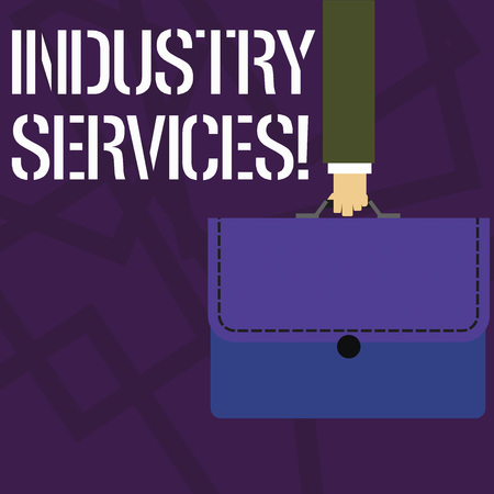 Text sign showing Industry Services. Business photo showcasing type of business that provides services to customers Businessman Hand Carrying Colorful Briefcase Portfolio with Stitch Applique 免版税图像